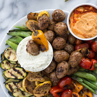 Grilled Vegetable Platter with Lemon-Feta Dip
