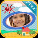 children photo frames montage icon
