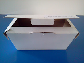 Photo: Caixa protótipo (22) para alimentos (de frente e semi aberta).SPP-345