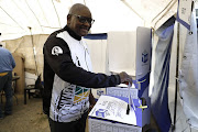 Gauteng premier David Makhura casts his vote in Knoppieslaagte outside Centurion on May 8 2019.