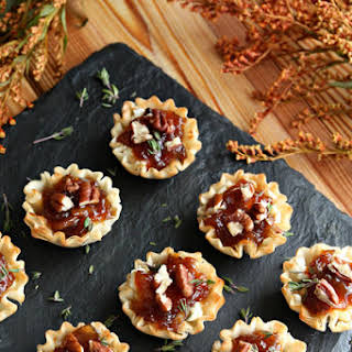 Mini Tarts with Goats Cheese and Onion Spread.