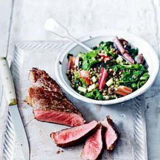 Steak, Sweet Potato Wedges + Greens Recipe