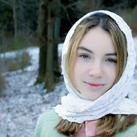 Country Winter by Sandy Considine - Babies & Children Child Portraits ( shawl, young girl, girl child )