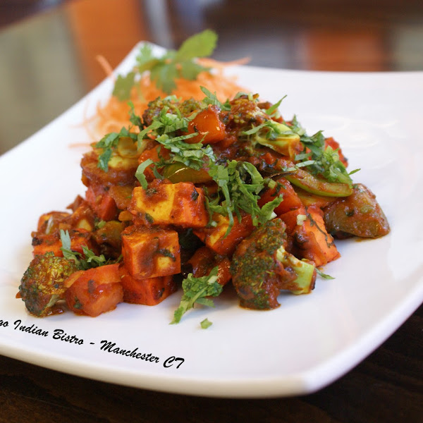 Tawa Paneer ( #GlutenFree ) - Cheese cooked on griddle with onion, tomato, peppers and spices