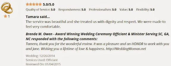 Photo: Thank you Tamera & Jane for the wonderful online review of my service to you!  Brenda Owen Wedding Officiant - WeddingWoman.net
