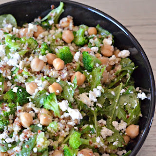 Broccoli Quinoa Salad with Feta and Spinach