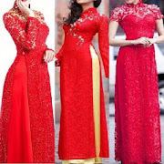 Red Ao Dai Lace Fashion Style.