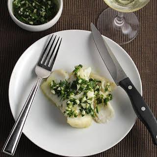 Roast Cod with Herb Pesto.