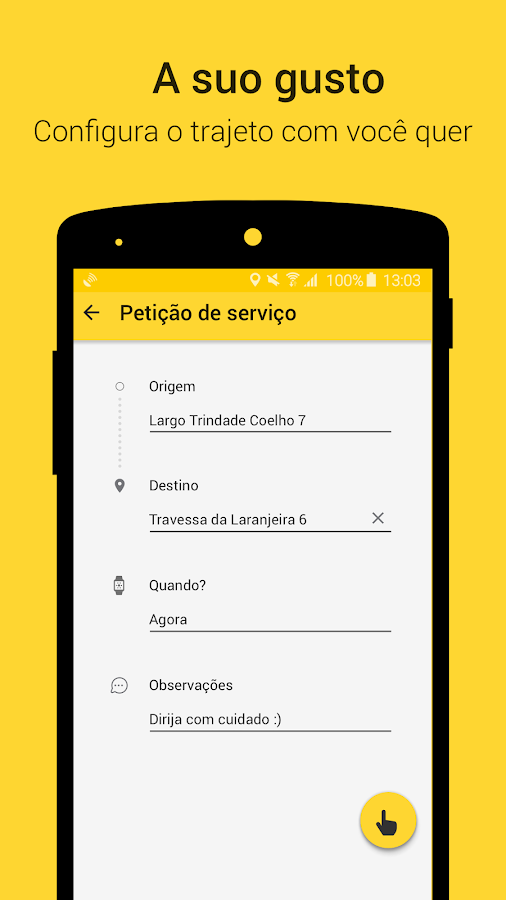 TaxiClick– captura de ecrã
