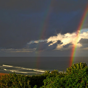 by Nico Ebersohn - Landscapes Waterscapes ( waves, rainbow, bushes, clouds, sea,  )