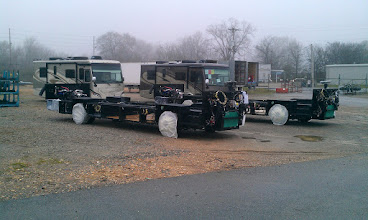 Photo: Chassies waiting to be Built on Two Tiffin Breezes waiting for some Corrections