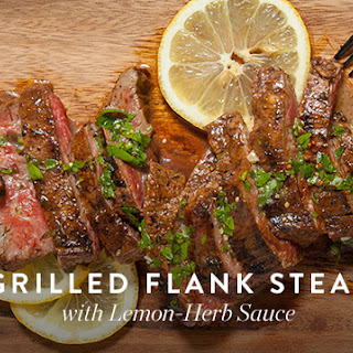 Grilled Flank Steak with Lemon-Herb Sauce.