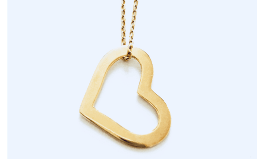 collier contour coeur en plaqué or