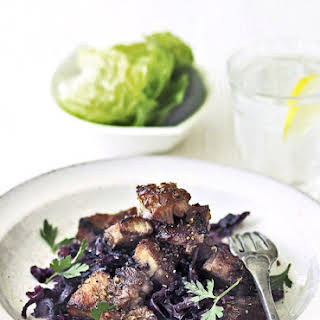 Coriander-crusted Pork With Sweet and Sour Cabbage.