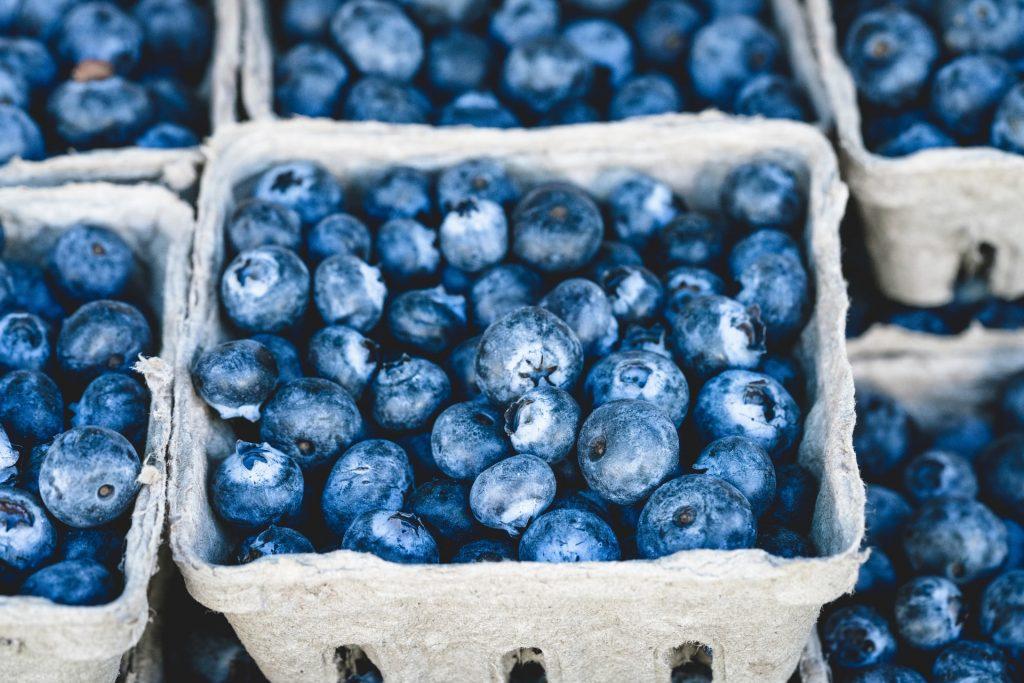 blueberries in paper packaging