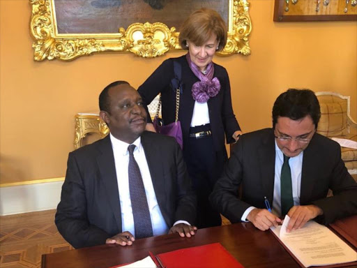 Treasury CS Henry Rotich and his Portugese counterpart sign a deal in Portugal on the avoidance of double taxation, July 10, 2018. /COURTESY