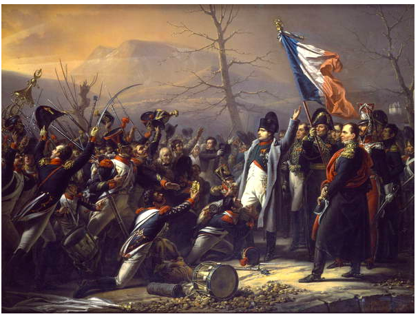 Image of Napoleon returning from Elba, Steuben, Charles Auguste (1788 - 1856) , The French Flag is waved by a general, battle scenes to the right of the image are depicted, to the left the Napoleonic French Army stands proudly/ Private Collection,Photo © Christie's Images / Bridgeman Images