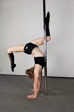 Photo: Vertical Pole Gymnastics - Rectangle Handstand with Z Leg Extension