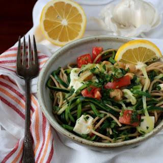 Vegetarian Zucchini & Whole Wheat Angel Hair Pasta With Chickpeas & Fresh Mozzarella