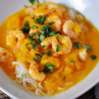 Butternut Squash and Coconut Curry Soup with Shrimp and Rice Noodles.