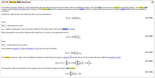 ANSYS Выдержка из ANSYS Theory Manual, касающаяся метода неучтённой массы (Missing Mass)
