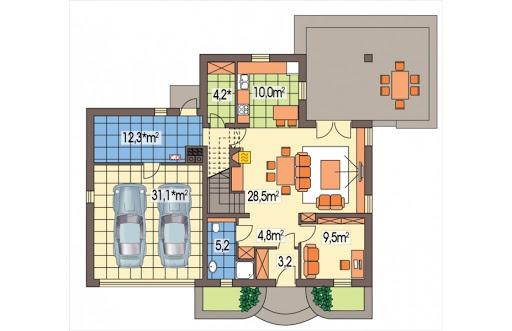 Aida wersja C podwójny garaż - Rzut parteru