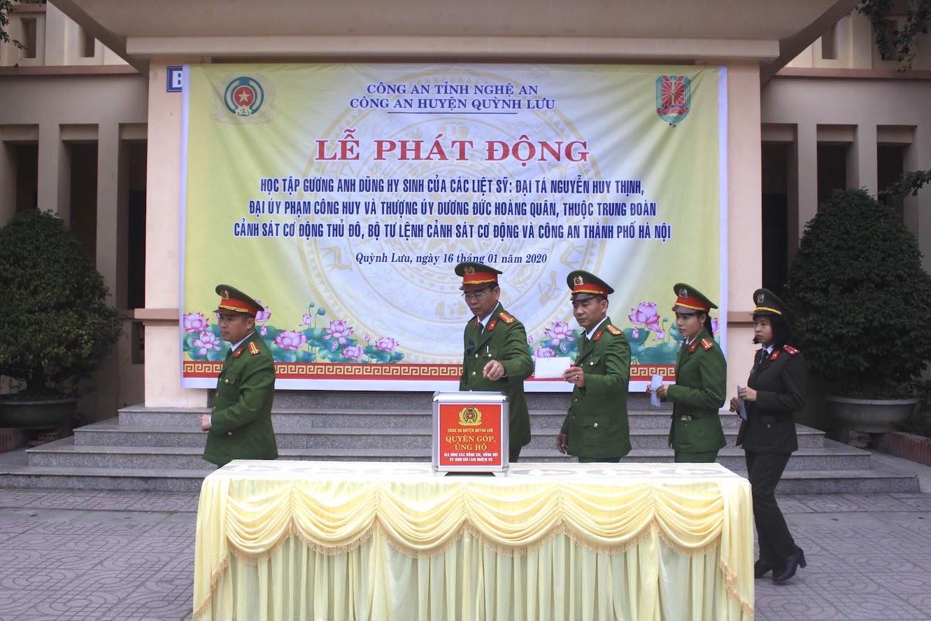 Công an huyện Quỳnh Lưu phát động học tập gương hi sinh 3 liệt sĩ Công an