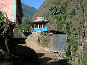 Photo: Teahouses in Chamje (1400 metres)