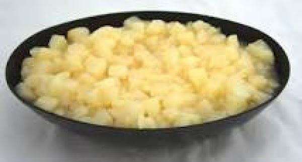 Drain pears, reserving 3/4 cup of the syrup. Dice pears; set aside. --- Stir boiling water...