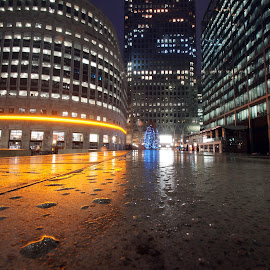 After the rain by Andrzej Kubinski - City,  Street & Park  Night ( london, canary wharf, buildings, nightscape, long exposure, water drops )