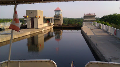 Photo: The view from our sundeck in the evening. After the crew left we had the lock all to ourselves.