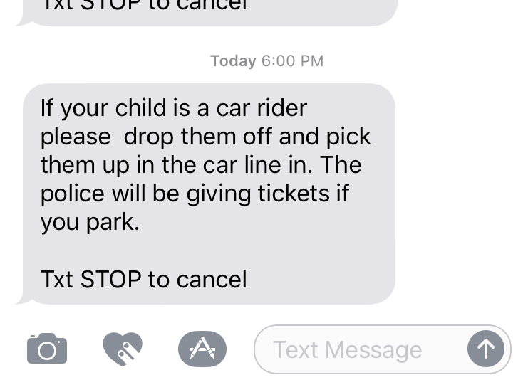 Text from the school warning parents not to park.