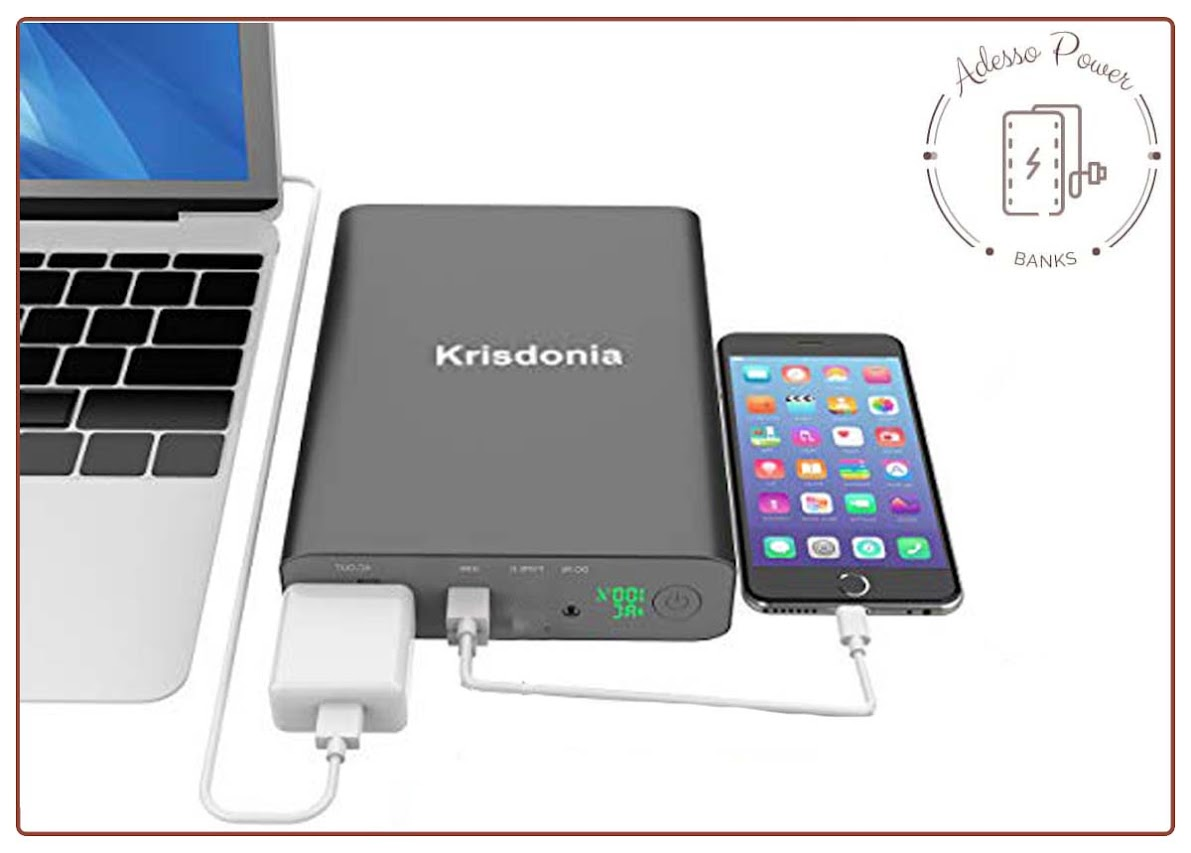 Krisdonia AC Outlet Portable Charger 60000mAh 110V/130W Laptop Power black