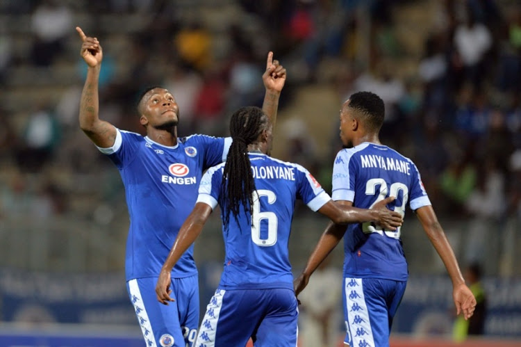 SuperSport United players celebrating a goal.