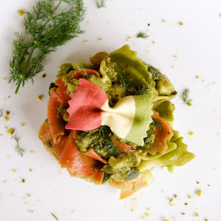Farfalle Italiane with Matcha Green Tea, Pistachios, Raisins & Zucchini