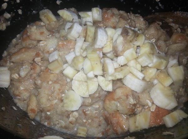 Set crock pot on low. Put cubed bread & oatmeal in crock pot, pour...