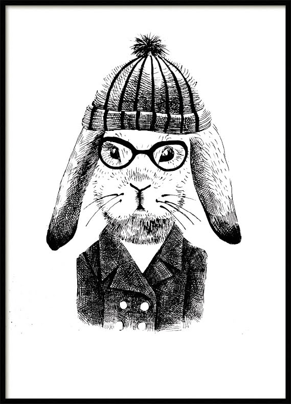 Hipster Kanin Barnposter