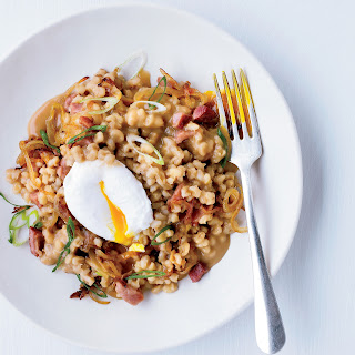 Pearl Barley Porridge with Ham and Eggs