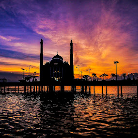 Floating Mosque by Frans Priyo - Landscapes Sunsets & Sunrises ( lighting, nature, indonesia, sunset, travel, architecture, seascape )
