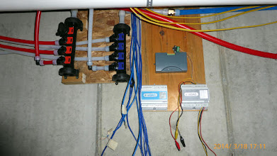 Photo: Water manifolds in place; starting on the PowerWise & eMonitor sensor systems.