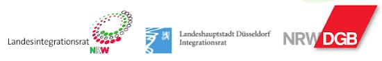 Logos von NRW DGB, Landesintegrationsrat NRW, Landeshauptstadt Düsseldorf Integrationsrat.