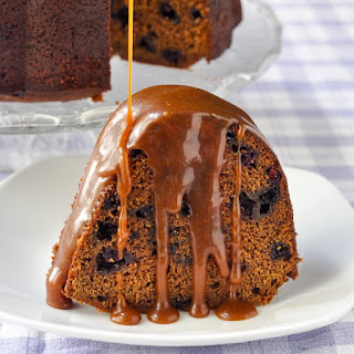 Blueberry Gingerbread Cake with Toffee Sauce
