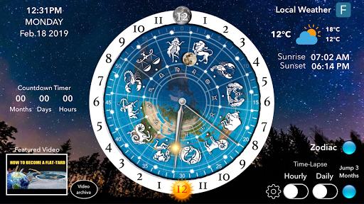Screenshot for Flat Earth Sun, Moon & Zodiac Clock in United States Play Store