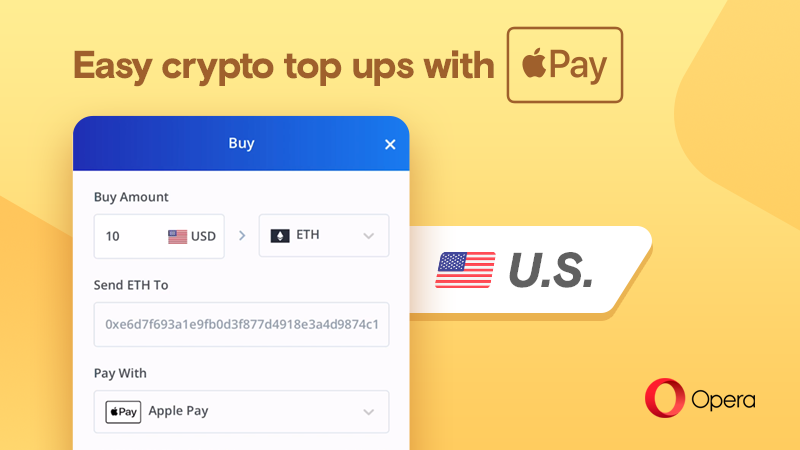 Opera lets to buy crypto using Apple Pay or debit card
