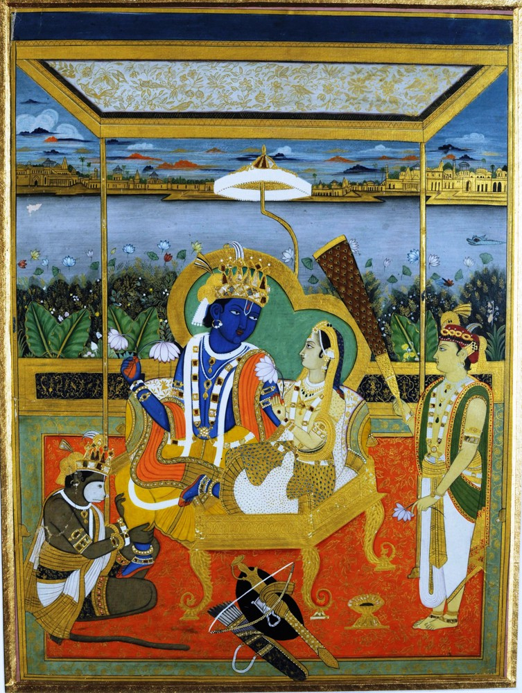 India's mythical love stories include that of Rama and Sita. Artist Unknown (Rajasthani style), Rama and Sita, mid 19th century, National Museum, New Delhi, India.