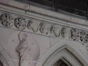 Photo: Much of the decorative work inside the cloisters is of a general floral theme. Here, however, the master stonemasons slipped in several images of themselves – reportedly much to the displeasure of the monks!