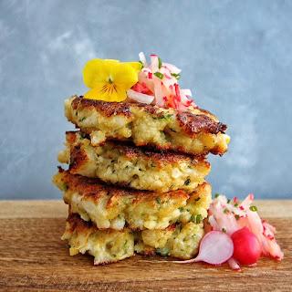 Cauliflower & Ricotta Fritters with Radish Salad (fritters made with cauliflower & radish leaves)