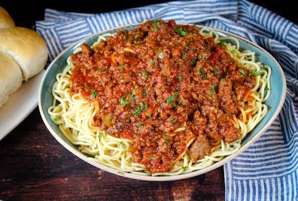 A Large Bowl Of My Grandma's Spaghetti Sauce Over Spaghetti.