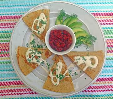 Crab, Egg and Pepper Breakfast Quesadillas