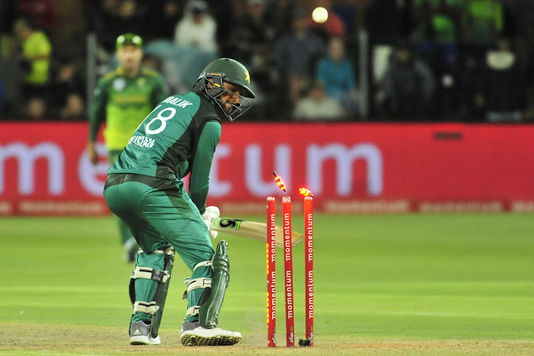 Shoaib Malik of Pakistan looks back as his bails fall off during the International One Day Series game between South Africa and Pakistan at St Georges Park, Port Elizabeth on January 19 2019.